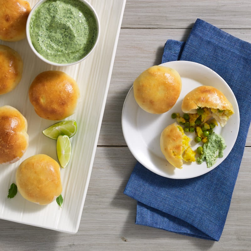 Photo of Samosa bombs with cilantro-mint sauce by Chef Eric Greenspan by WW