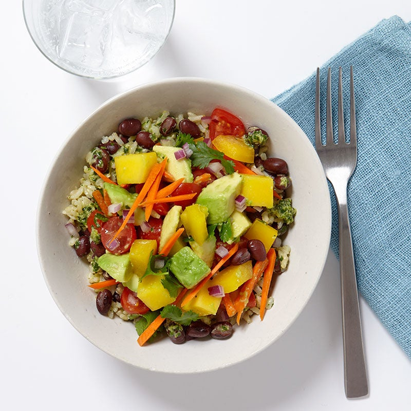Photo of Brown rice and veggie bowl with ginger-lime dressing by WW